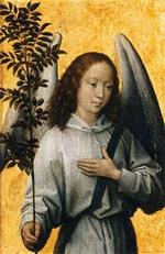 Angel with olive branch. Painting by Hans Memling (1480)