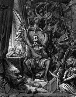 Don Quixote goes mad from his reading of books of chivalry. Illustration by Gustave Dore (1863)