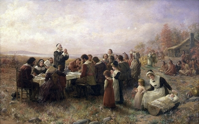 The First Thanksgiving at Plymouth by Jennie Augusta Brownscombe (1914)
