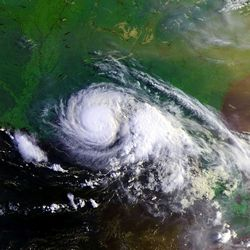 Satellite photo of Hurricane Danny at its peak intensity on July 19, 1997