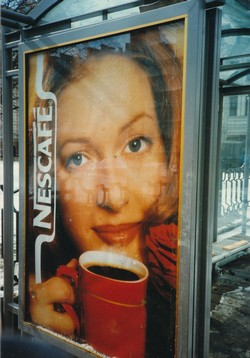 Nescafe bus stop advertisement in Moscow
