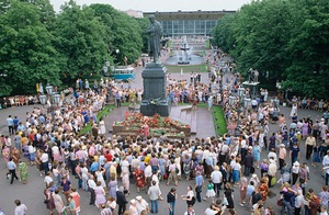 A poetry festival near the Pushkin Monument on Pushkin Square in Moscow on June 6, 1984 to mark the poet's 185th birthday.