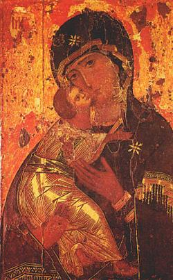 "One of the most venerated Orthodox icons ""Theatokos of Vladimir"" (c. 1130)"