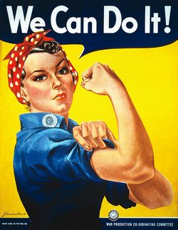 """We Can Do It!"" wartime propaganda poster by J. Howard Miller (1943)"