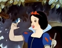 "Snow White singing ""Whistle While You Work"" in Walt Disney's 1937 film Snow White and the Seven Dwarfs"