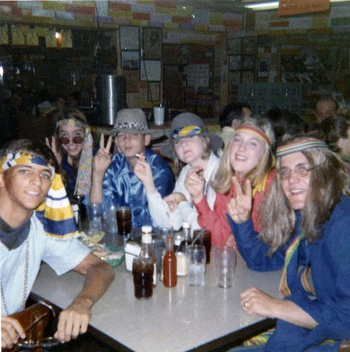 "High school graduation year, (dress up like a) ""hippie party"" with friends"